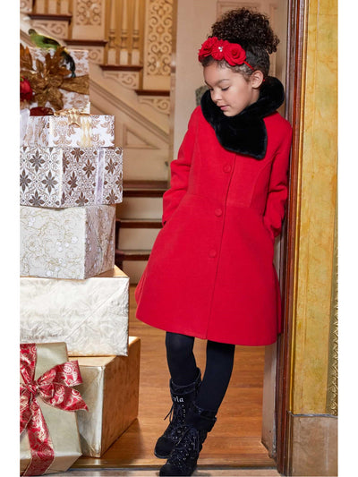 Girls Faux-Fur Bow Collar Coat  red alt1