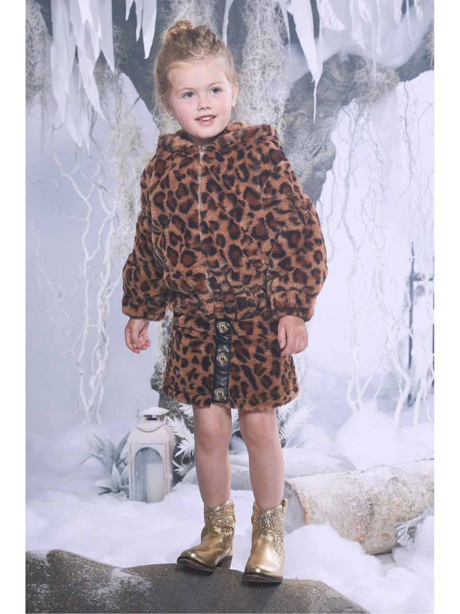 Girls Faux Fur Leopard Bomber Jacket