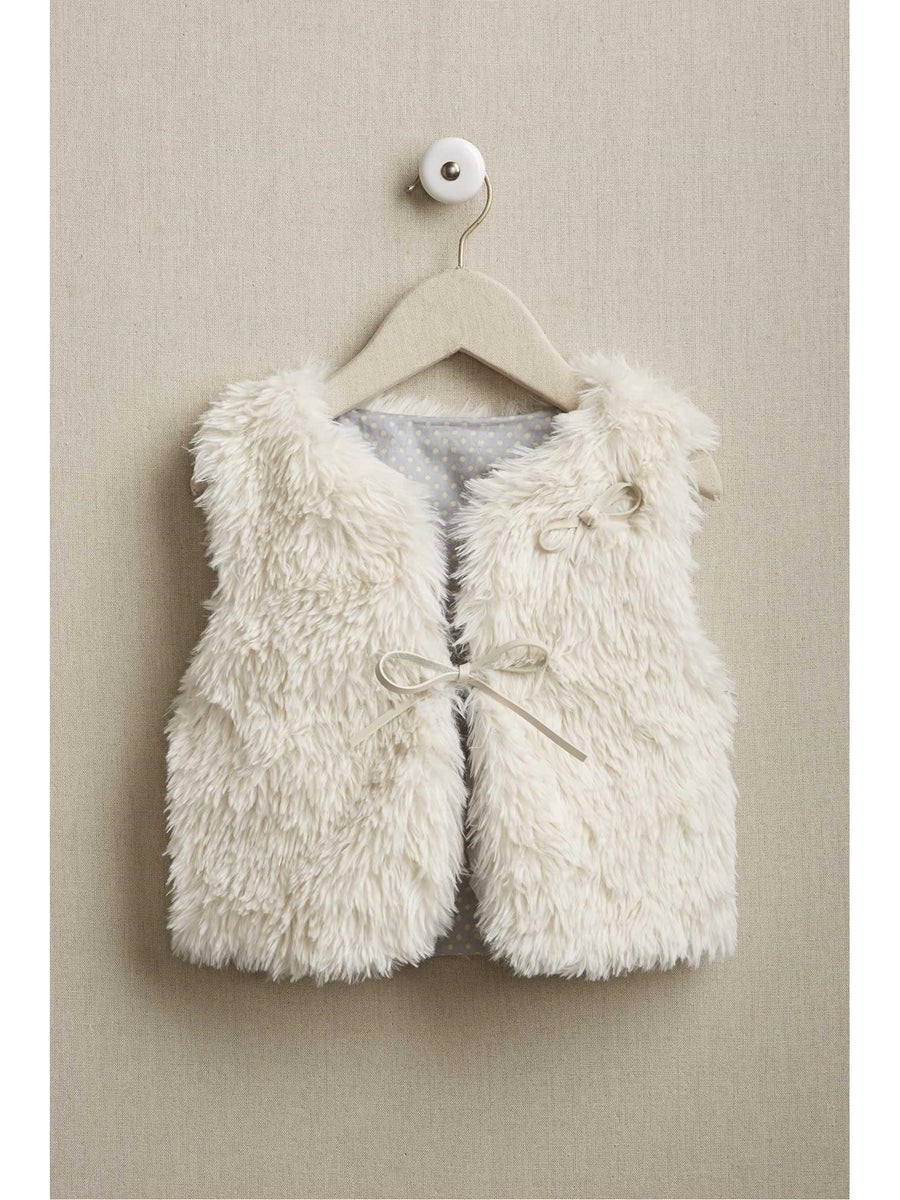 Girls Faux Fur Tie Vest