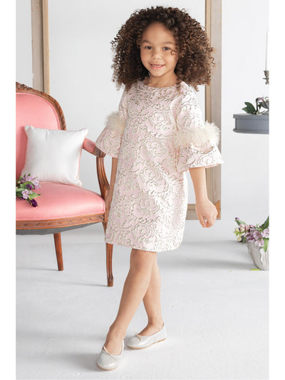 Girls Feathery Elegance Jacquard Dress  blsh alt1