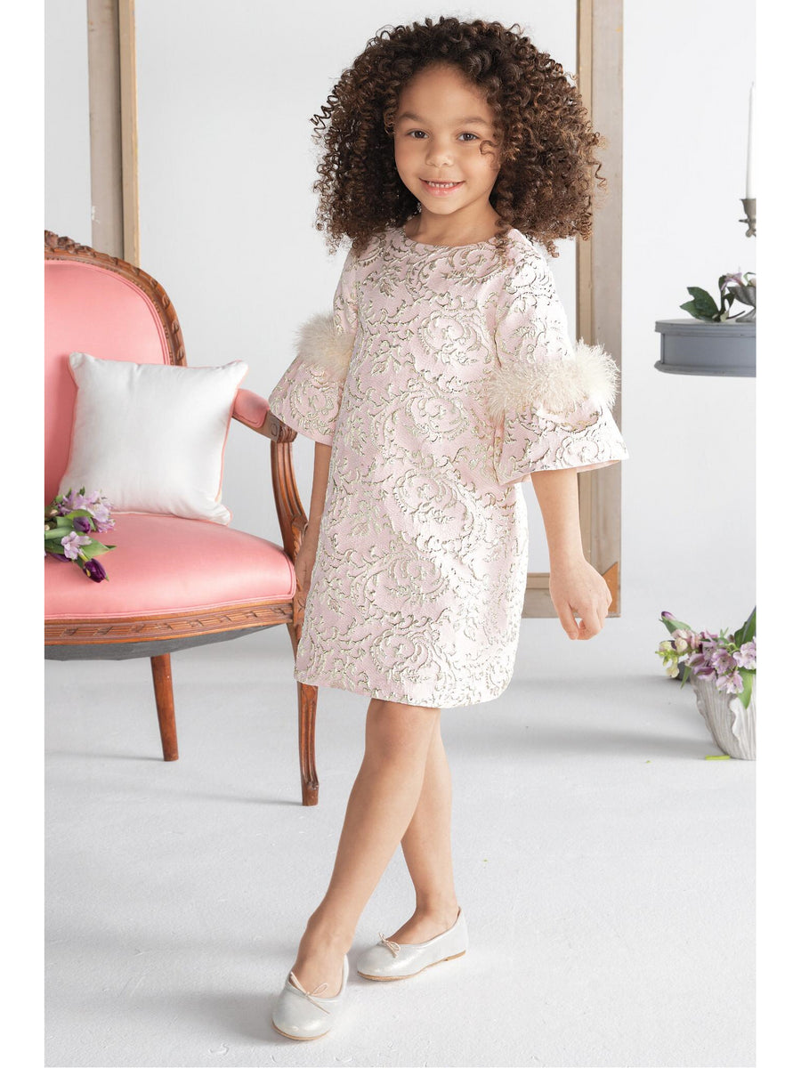 Girls Feathery Elegance Jacquard Dress