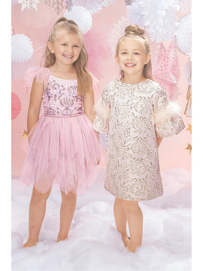 Girls Feathery Elegance Jacquard Dress  blsh alt2