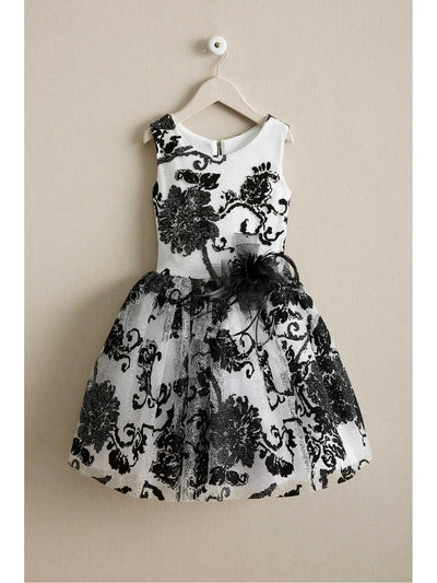 Girls Flocked Flowers Dress
