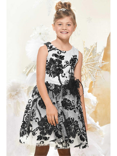 Girls Flocked Flowers Dress  sil alt1