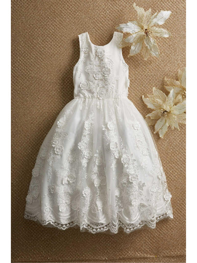 Girls Floral Bouquet Dress  whi alt1