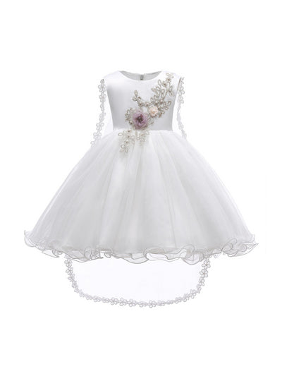 Girls Floral Cascade Dress with Train  white alt1