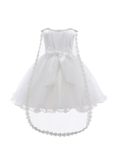 Girls Floral Cascade Dress with Train  white alt2