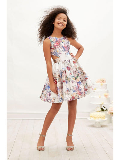 Girls Floral Cut-Out Dress  whi alt1