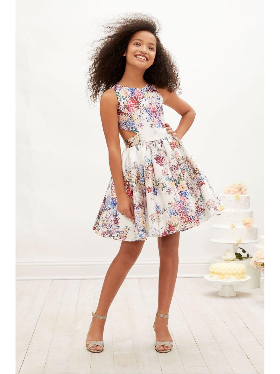 Girls Floral Cut-Out Dress