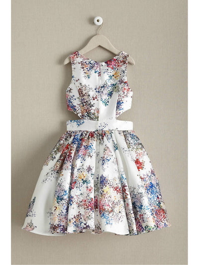Girls Floral Cut-Out Dress  whi alt2