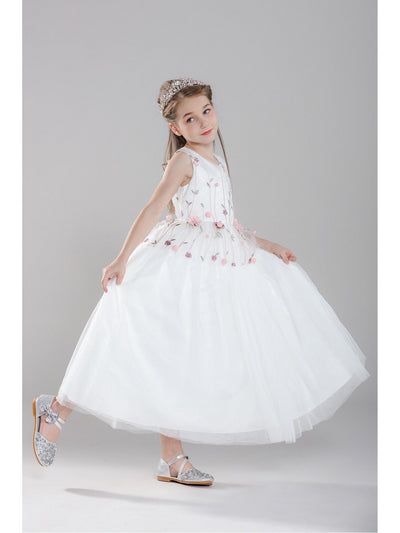 Girls Floral Overlay Dress  whtfl alt1