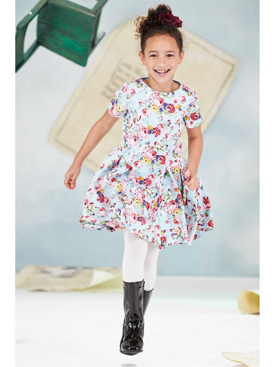 Girls Floral Pocket Dress