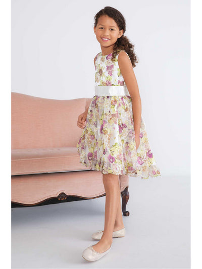 Girls Floral Print Satin Dress