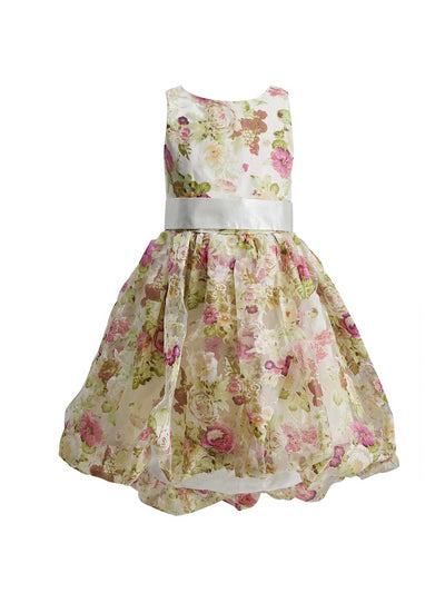 Girls Floral Print Satin Dress  lbl alt1
