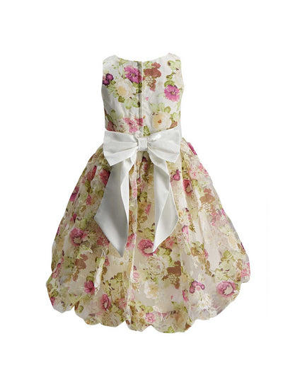 Girls Floral Print Satin Dress  lbl alt2