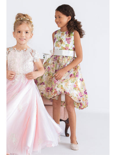 Girls Floral Print Satin Dress  lbl alt3