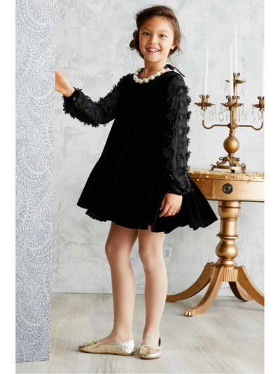 Girls Floral Sleeve Velvet Dress