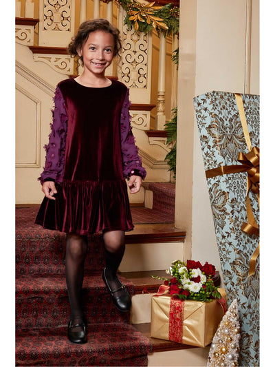 Girls Floral Sleeve Velvet Dress  bla alt2