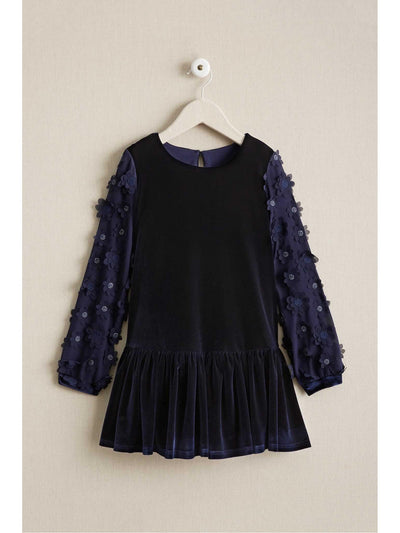 Girls Floral Sleeve Velvet Dress  nav 1