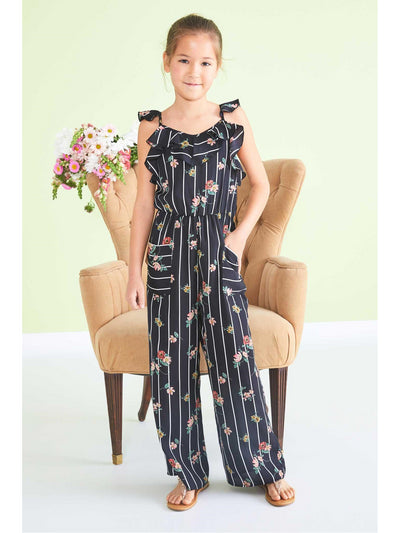 Girls Floral Stripe Jumpsuit