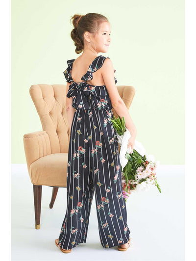 Girls Floral Stripe Jumpsuit  bkm alt1