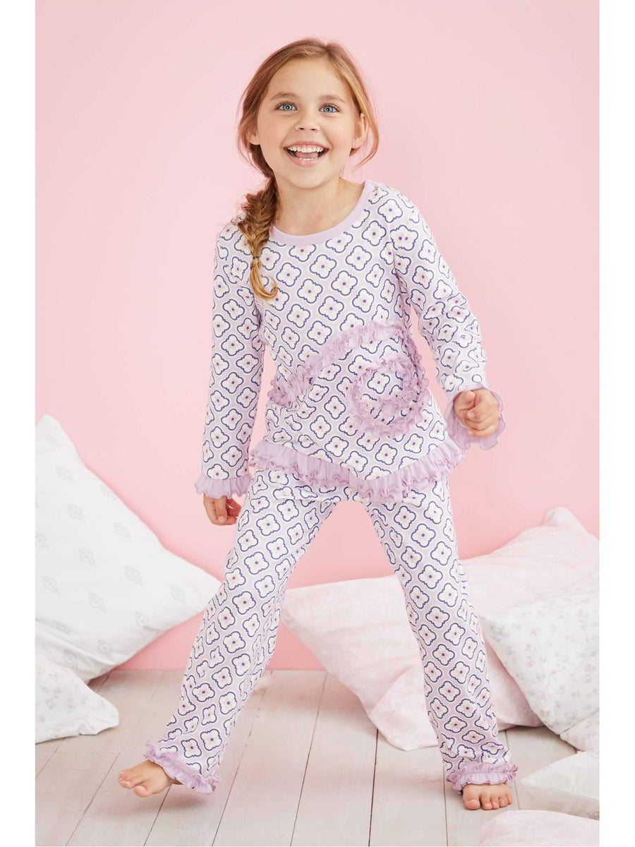 Girls Floral Swirly Ruffles Pj's