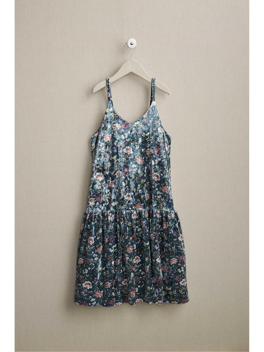 Girls Floral Velvet Dress