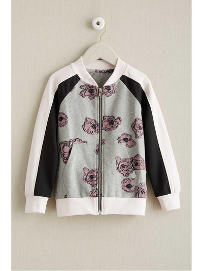 Girls Floral Zip-front Jacket