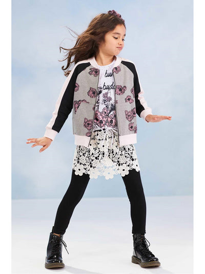 Girls Floral Zip-front Jacket  hgr alt1