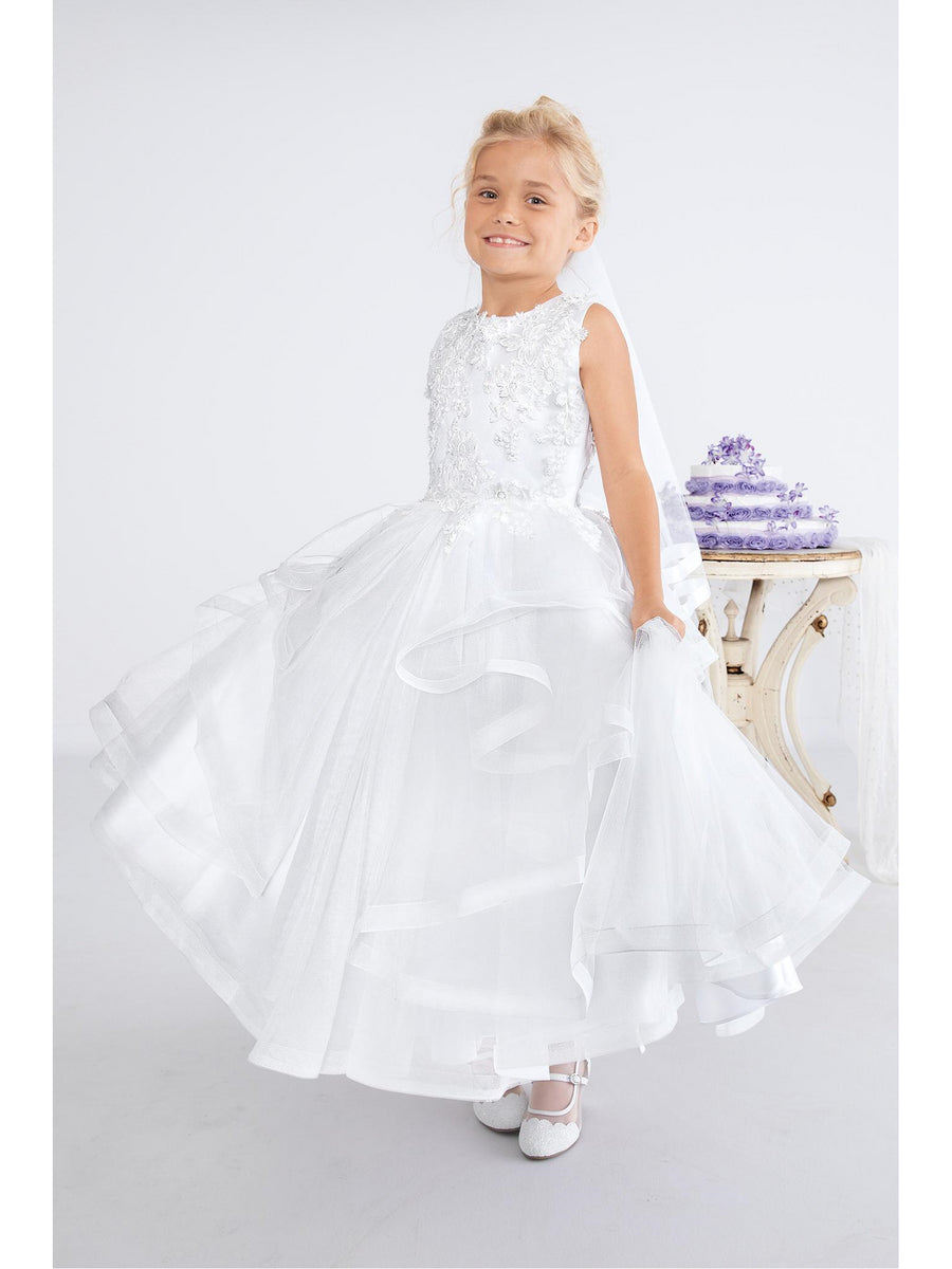 Girls Flower Appliqué & Organza Ruffle Dress
