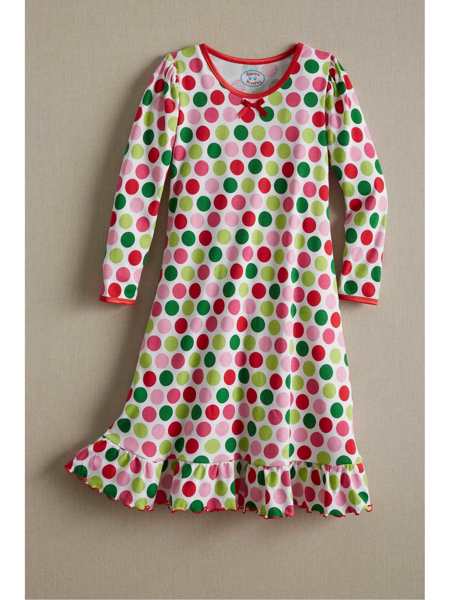 Girls Flower Dots Nightgown