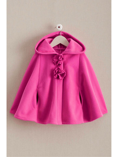 Girls Flower Fleece Cape