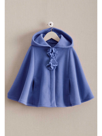 Girls Flower Fleece Cape  pur 1