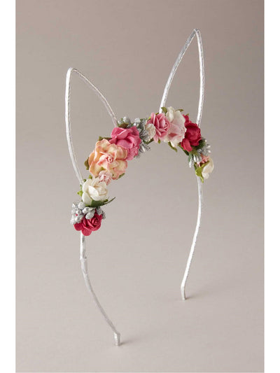 Girls Flowery Bunny Ears Headband  sil 1