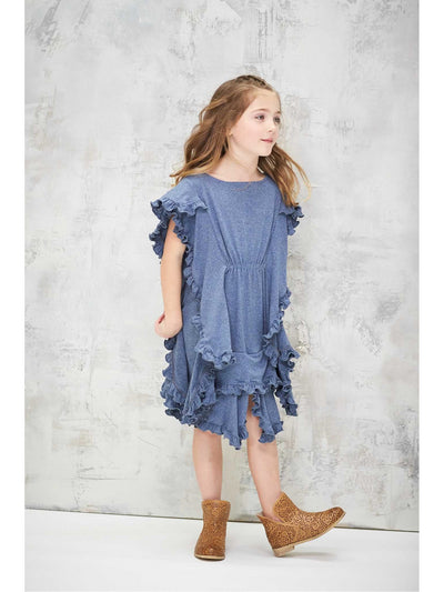 Girls Flutter Dress  den alt1