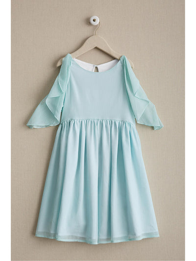 Girls Flutter Shoulder Dress  aqu alt1
