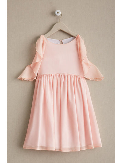 Girls Flutter Shoulder Dress  aqu alt2