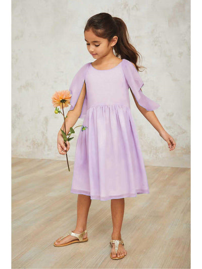 Girls Flutter Shoulder Dress  lav 1