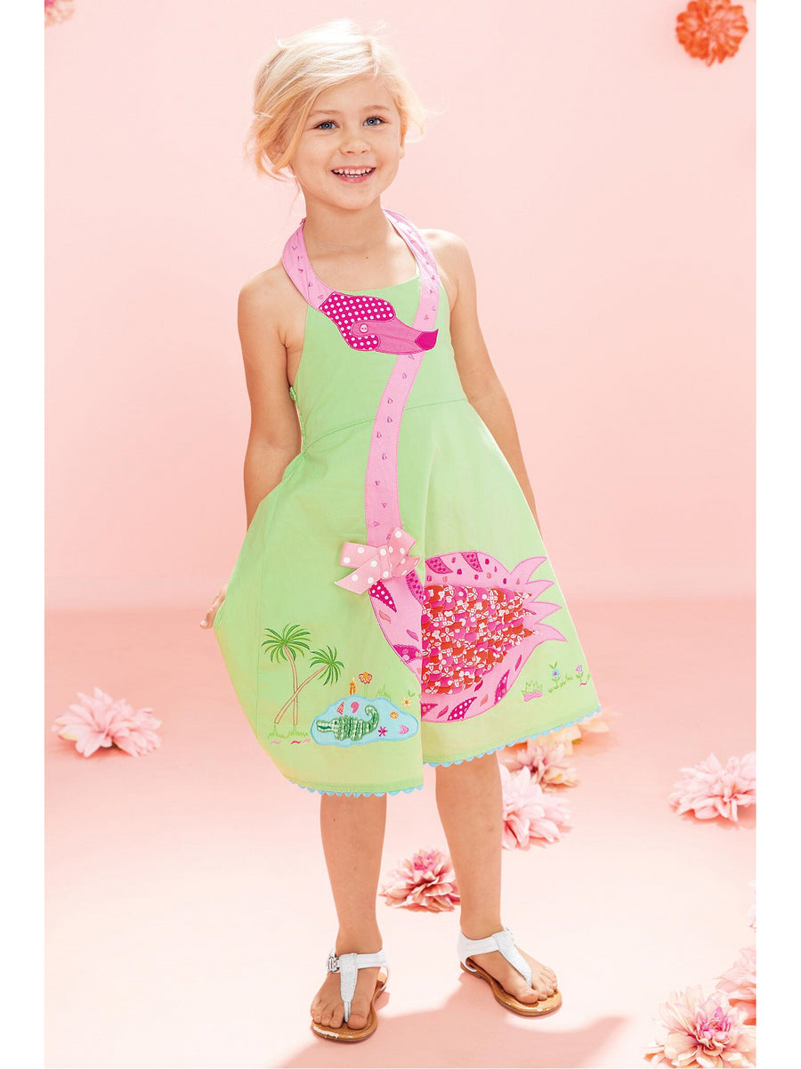 Girls Fluttery Flamingo Dress