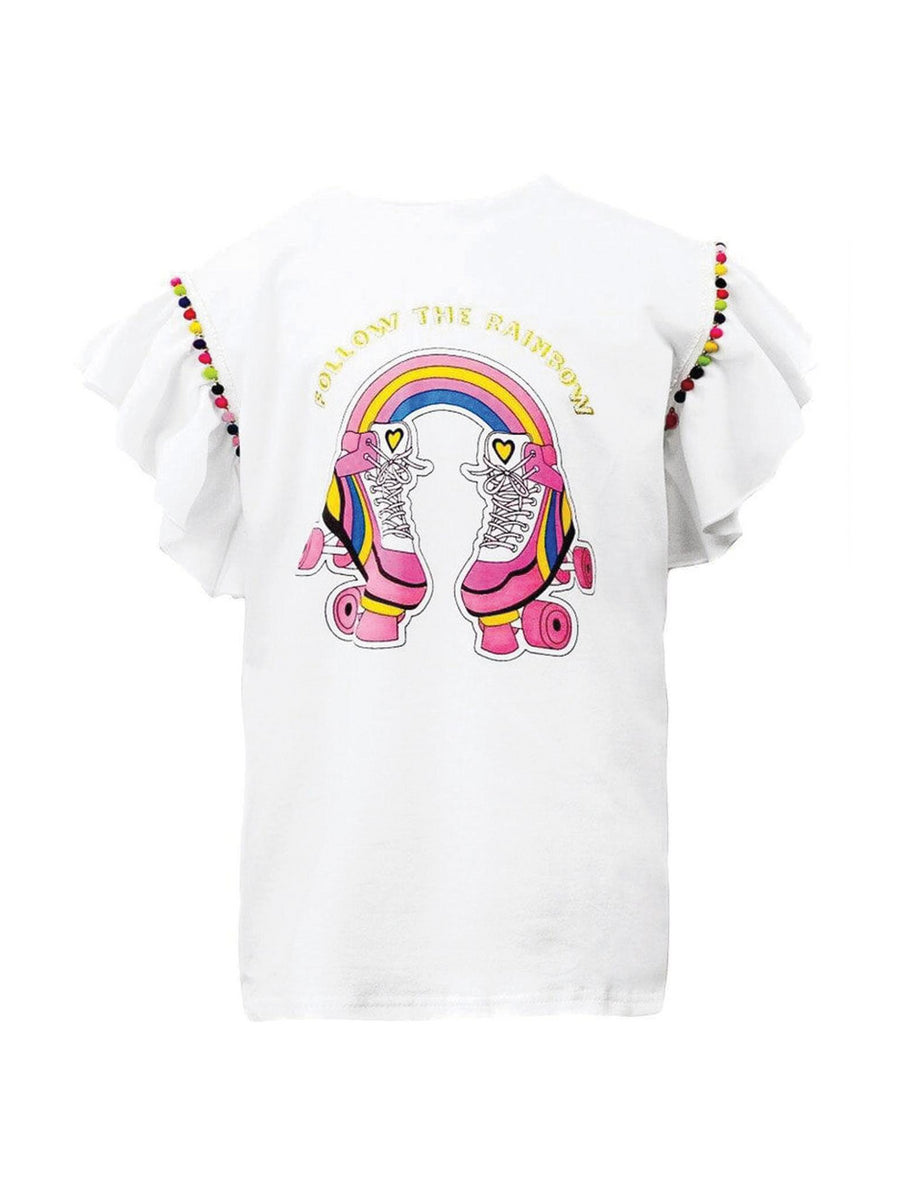 Girls Follow the Rainbow Pom Pom Tee