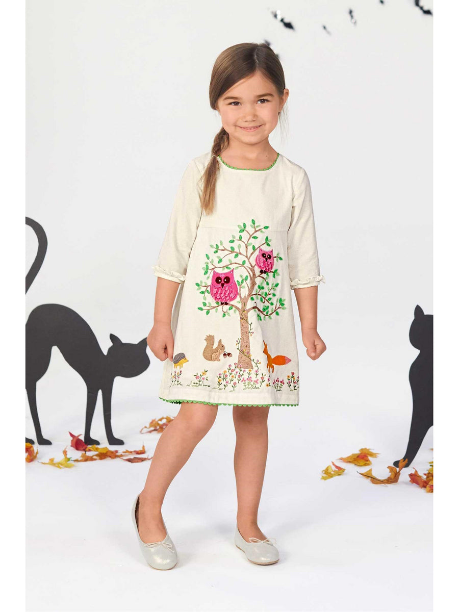 Girls Forest Friends Embroidered Dress