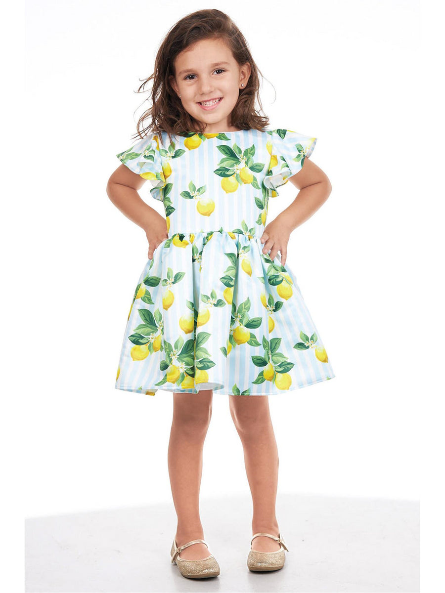 Girls Fresh Lemon Stripe Dress