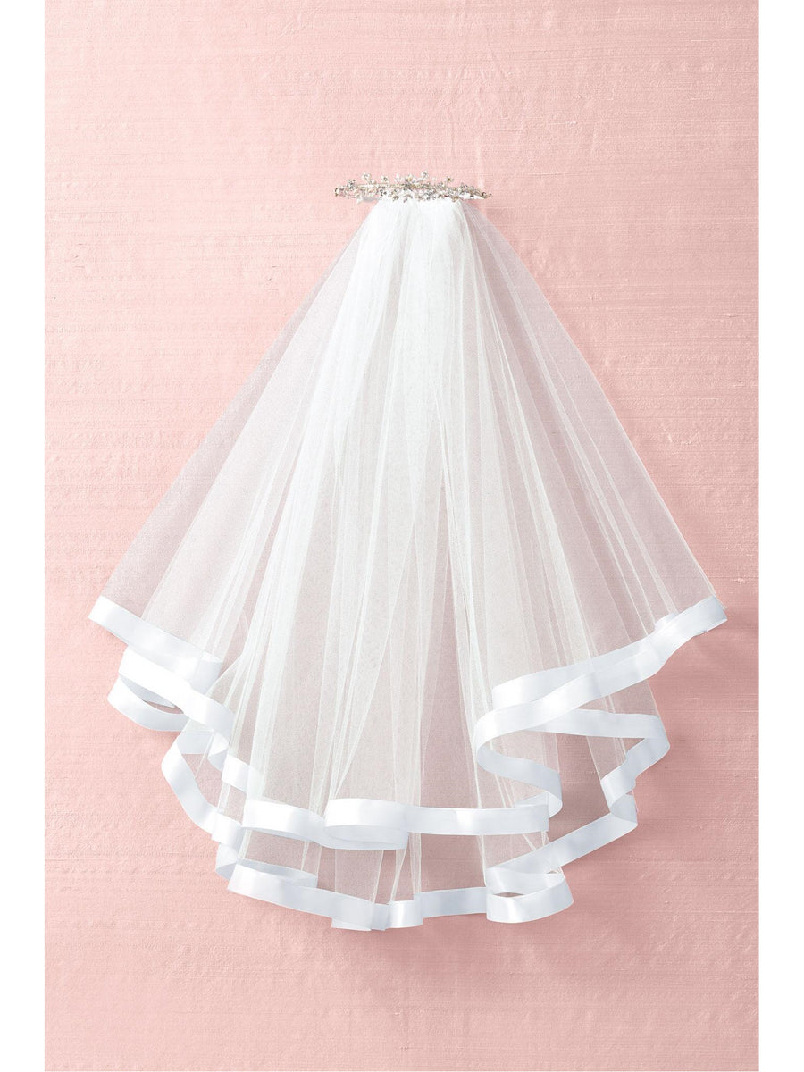 Girls Freshwater Pearl Tiara with Satin Ribbon Trim Veil