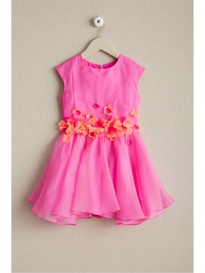 Girls Fuchsia Hibiscus Dress