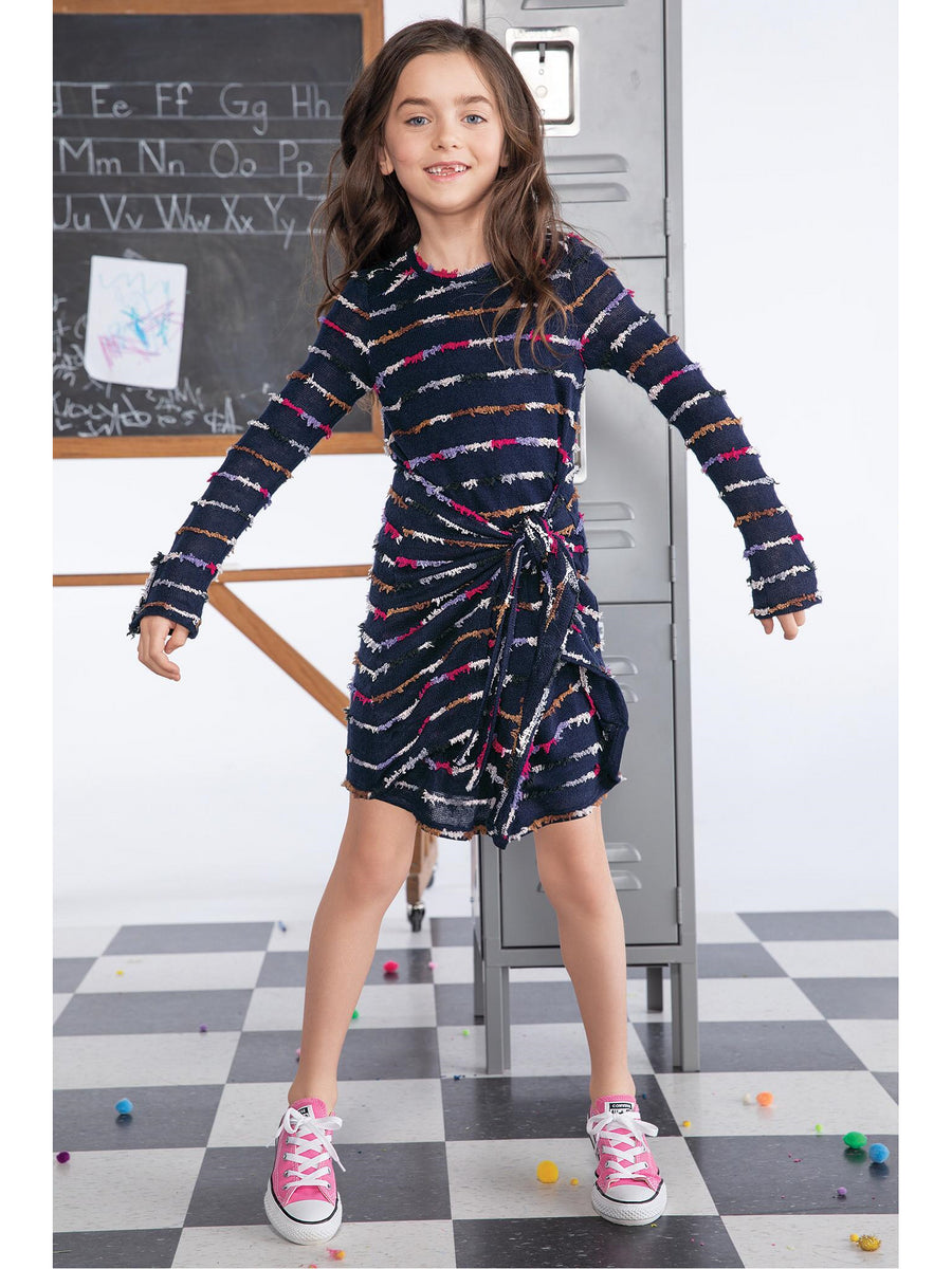 Girls Funky Stripes Sweater Dress