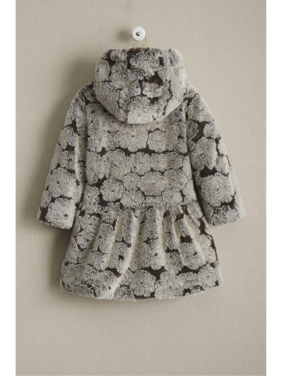 Girls Furry Flowers Coat