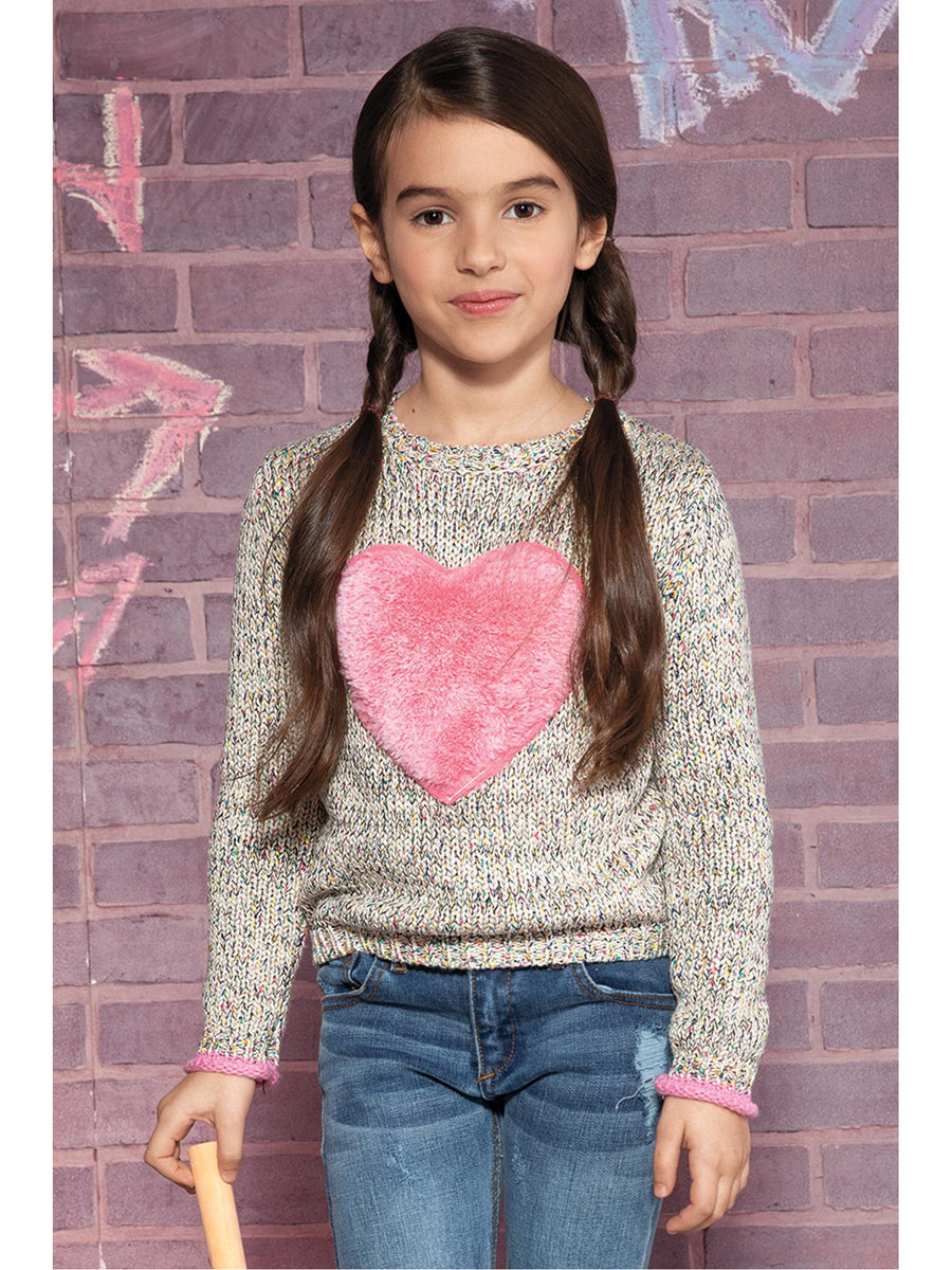 Girls Furry Heart Sweater
