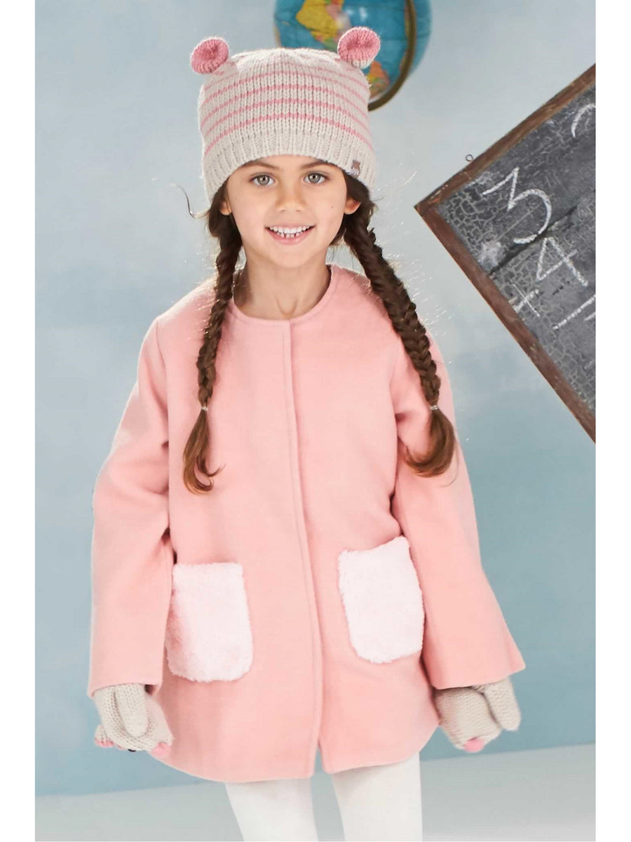 Girls Furry Pocket Coat