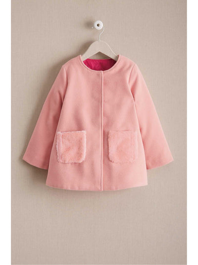 Girls Furry Pocket Coat  pin 1