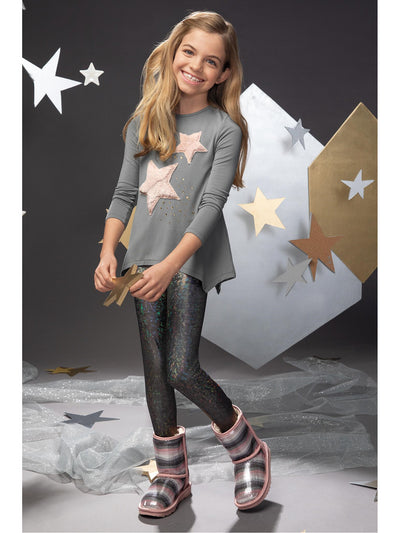 Girls Furry Stars Tunic  ash alt2
